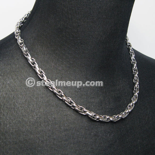 Stainless Steel Loose Rope Chain Men Necklace 8mm 22""