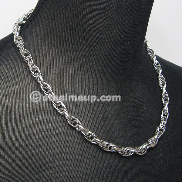 Stainless Steel Loose Rope Chain Necklace 9mm