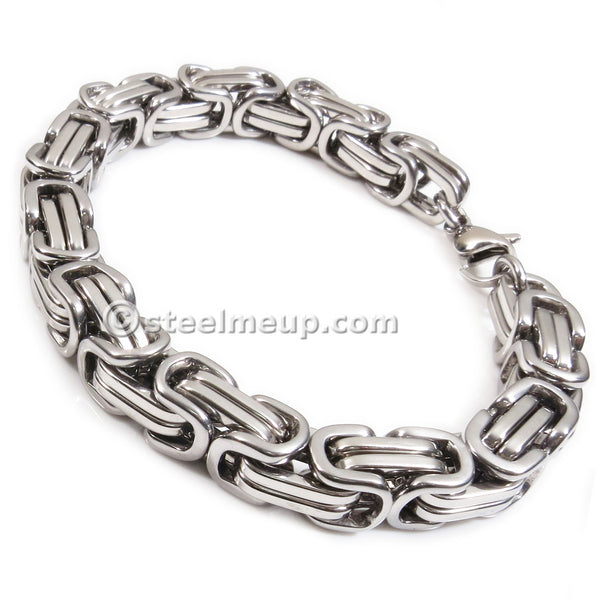 Stainless Steel Square Silver Byzantine Chain Jewelry Set Bracelet Necklace 9mm