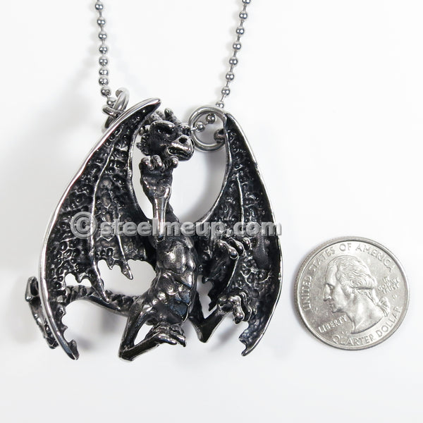 Stainless Steel Big Dinosaur Pterosaur Fly Dragon Men Biker Pendant Necklace