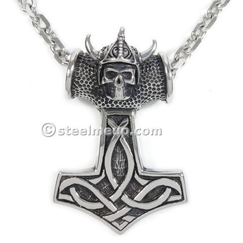 Stainless Steel Mythical Thor's Hammer Big Men Biker Pendant Necklace