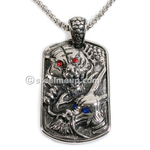 Stainless Steel Dragon Tiger Dog Tag Pendant Necklace