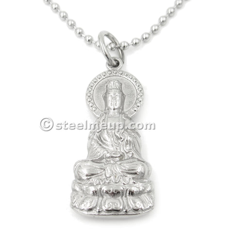 Stainless Steel Guan Yin Godness of Mercy Pendant Necklace