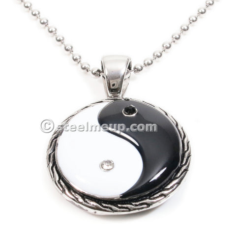 Stainless Steel Black White Ying Yang Pendant Necklace