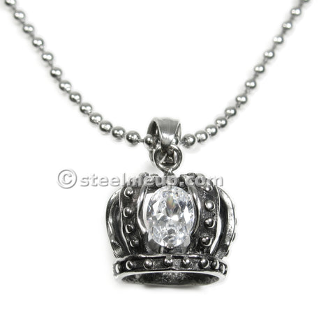 Stainless Steel Crown Cubic Zirconia Pendant Necklace