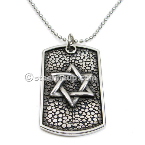 Stainless Steel Star of David Dog Tag Pendant Necklace