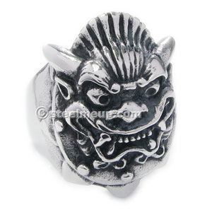 Stainless Steel Japanese Mask Men Biker Ring