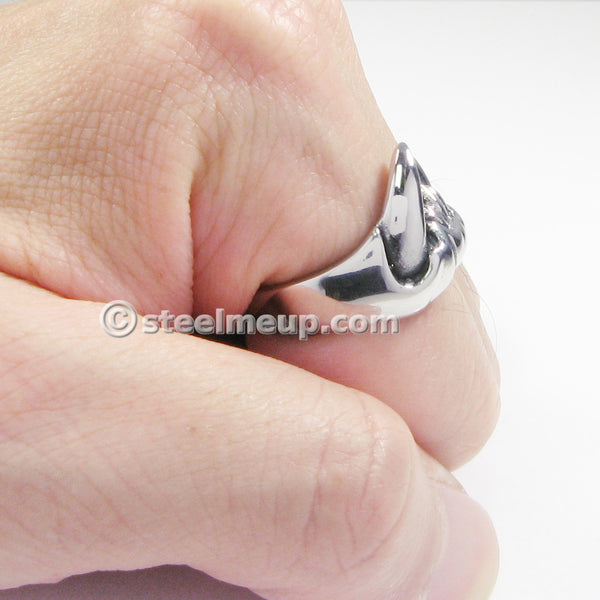 Stainless Steel Sharp Teeth Jaw Men Biker Ring