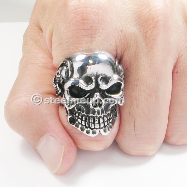 Stainless Steel Creepy Skull Skeleton Men Biker Ring