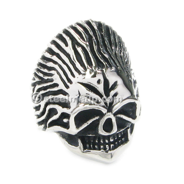Stainless Steel Creepy Straight Hair Skull Men Biker Ring