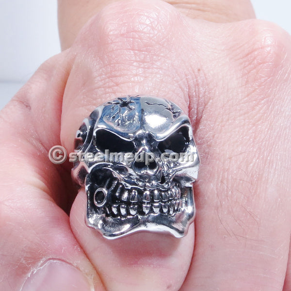 Stainless Steel Bad Evil Cigar Skull Men Biker Ring