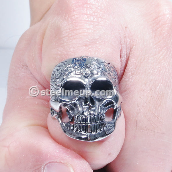 Stainless Steel Carved Garden Skull Men Biker Ring