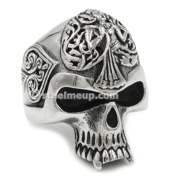 Stainless Steel Carved Spade Statue Skull Men Biker Ring