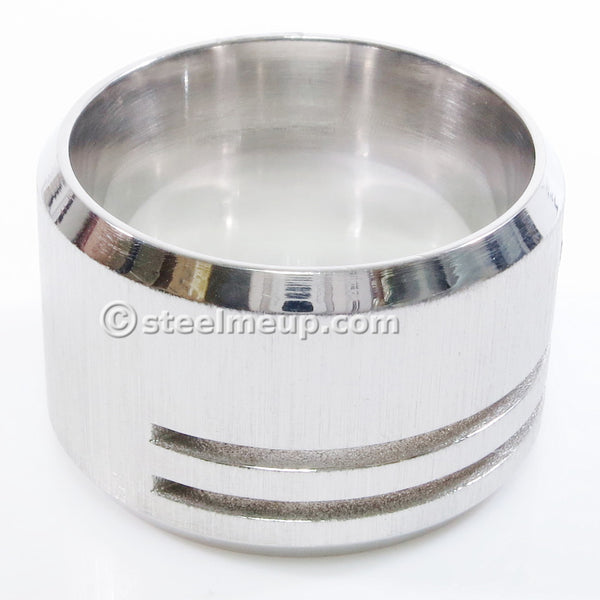 Stainless Steel Brush Wide Band Men Ring Cubic Zirconia 15mm