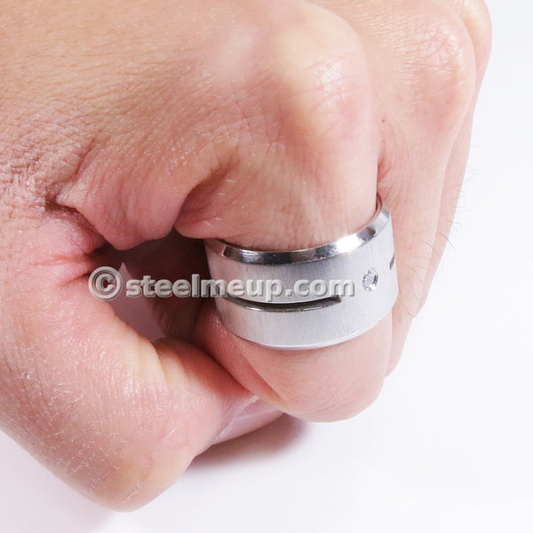 Stainless Steel Brush Wide Band Men Ring Cubic Zirconia 15mm Size 12
