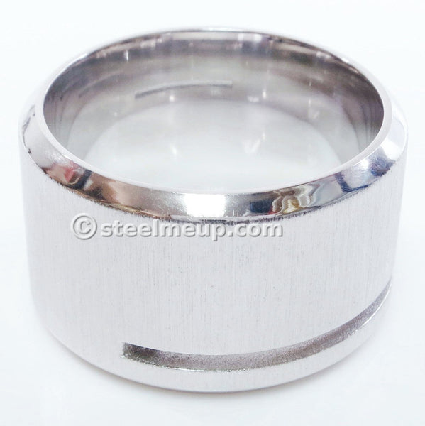 Stainless Steel Brush Wide Band Men Ring Cubic Zirconia 15mm Size 11