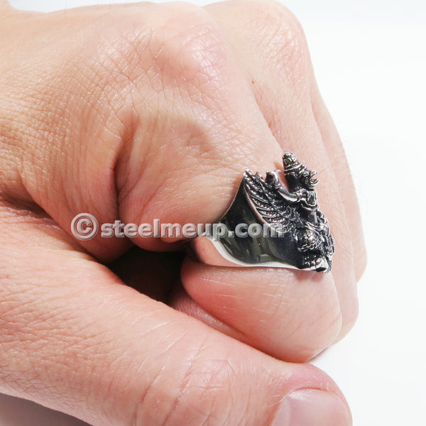 Stainless Steel Bird God Garuda Men Biker Ring