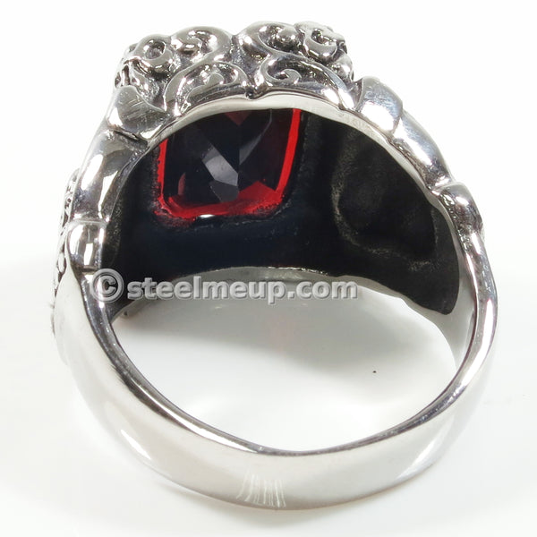 Stainless Steel Big Dark Red Cubic Zirconia Crown Ring