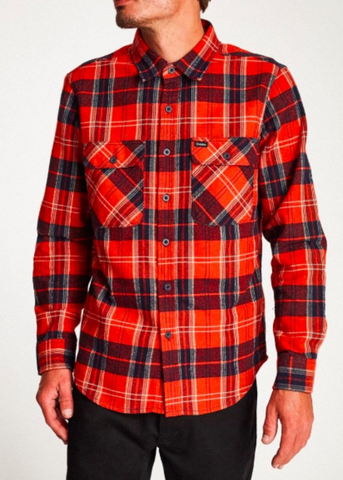 Brixton Bowery Flannel - Red/Navy