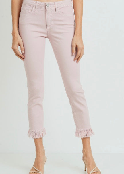 Just Black Denim Crop Skinny w/ Fringe Hem - Pastel Pink