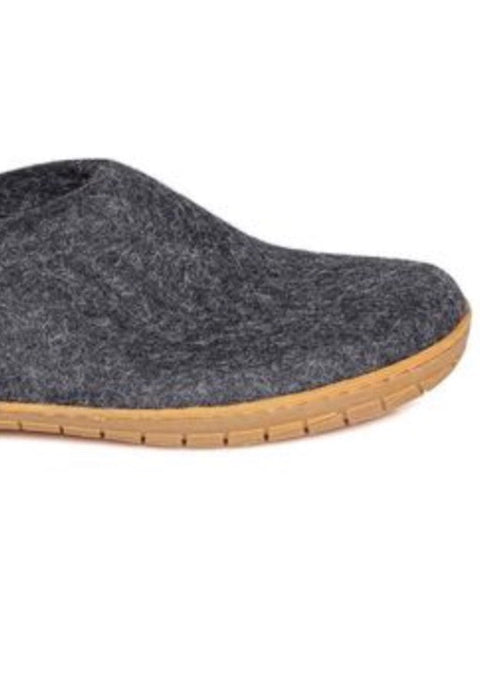 Glerups Slipper with Rubber Sole - Charcoal