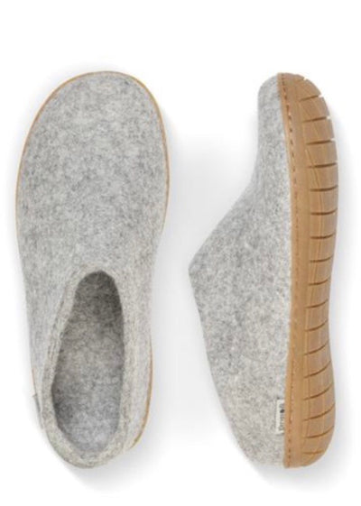 Glerups Slipper with Rubber Sole - Grey