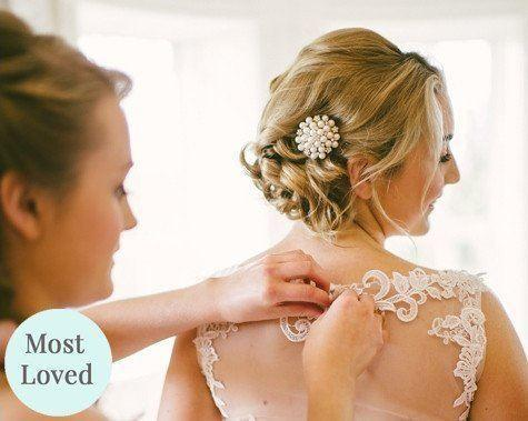 Nadine Pearl Cluster and Silver Wedding Hair Clip