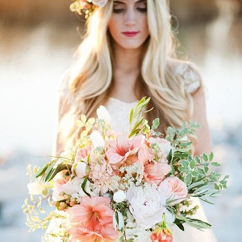 Bride With Coral Bouquet