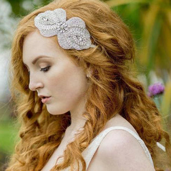 Long curls tendrils with Maggie Headpiece