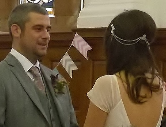 Real Bride wears Camomile Headpiece