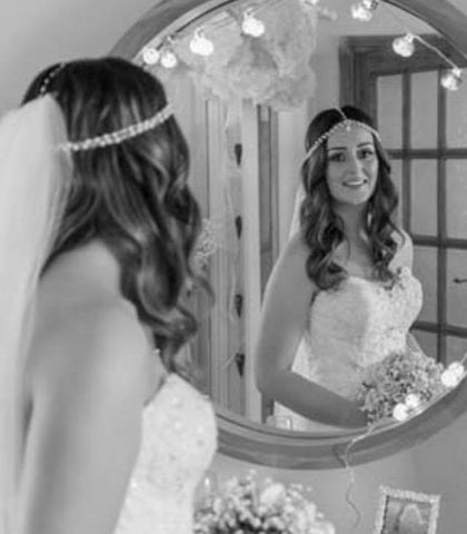 Real Bride Becky wears Suzie Headpiece