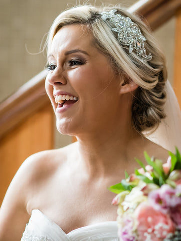 Real Bride wears Cheryl Headpiece