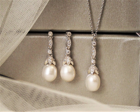 Beverly Freshwater Pearl Pendant & Earring Silver Wedding Set