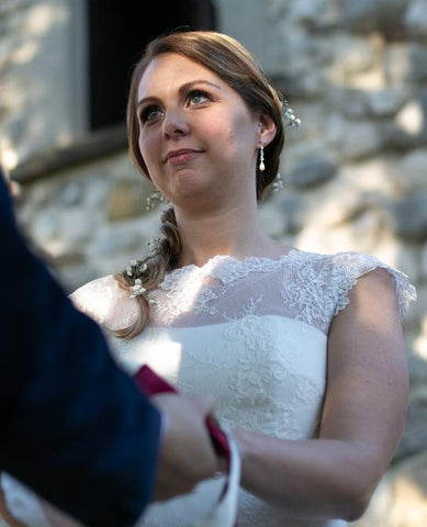 Real Bride wearing Beverly earrings