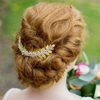 Gold Laurel Diamante Hair Comb