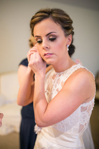 Real Bride Wearing Alisha Pearl Wedding Earrings