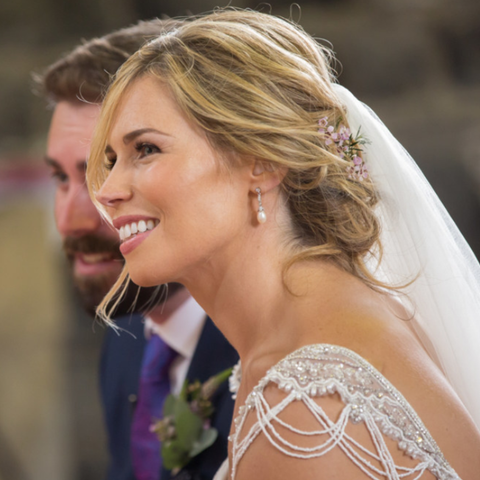 Real Bride Sarah Wearing Beverly Earrings