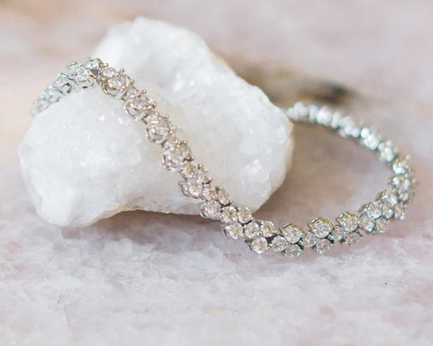 Anastasia Crystal and Silver Wedding Bracelet