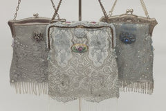 Cathy White Vintage Handbag  Silver Collection