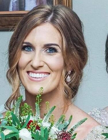 Real Bride Clare wears Rose Gold Jodie Earrings