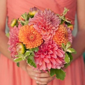 Coral Bridemaids Dress and Flowers