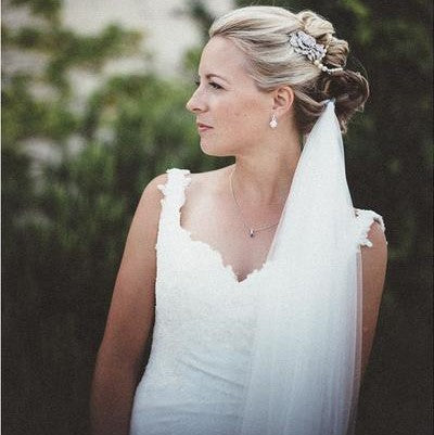 Real Bride Wearing Anita Draping Headpiece