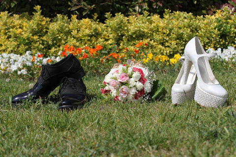Bride and Grooms wedding day shoes