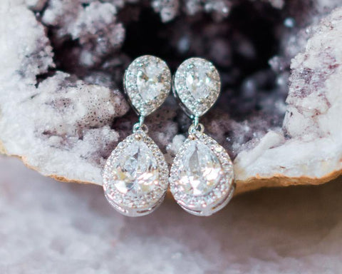 Jodie Teardrop Crystal Silver Wedding Earrings