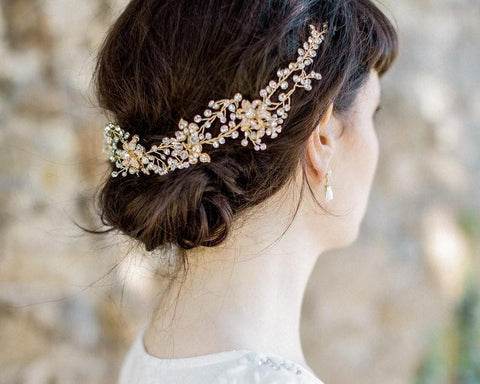 Kelly Gold Crystal Flexible Wedding Hair Vine