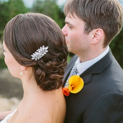 Real Bride Wearing Lucia Mini Comb