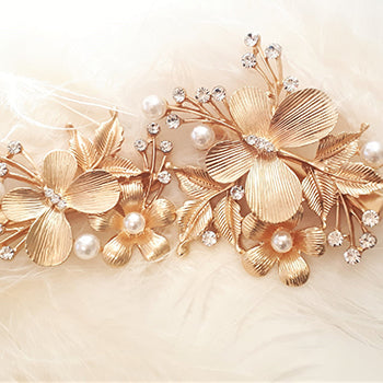 Pappilon Gold Mini Wedding Hair Clips