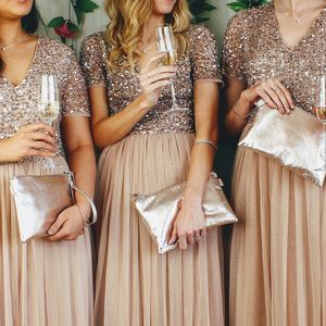 Bridesmaids Holding Clutch Bag