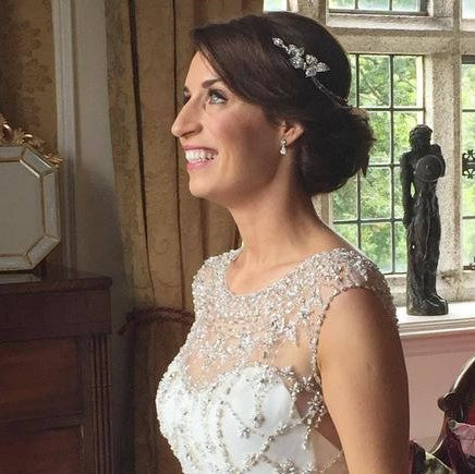 Real Bride Laura wears Camomile Headpiece
