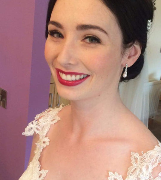 Real Bride Nicola wears Beverly Earrings